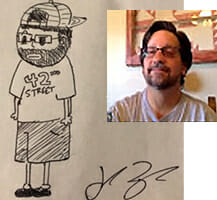 Artistic Director Kenny Grossman. Caricature by Jack Taylor.