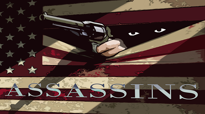 Assassins presented by State of the Art Productions in partnership with Spotlight Youth Theatre. Art by Bobby Sample.